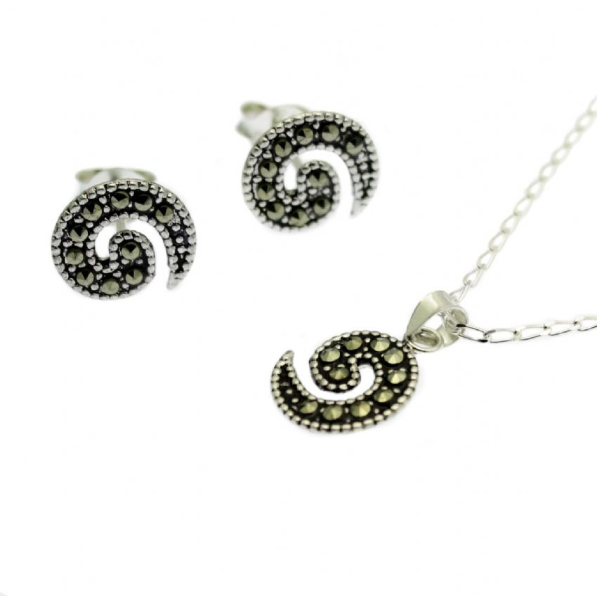 Marcasite Jewellery Set Pendant & Stud Earrings Sterling Silver Swirl Design
